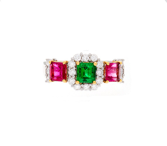 18 kt gold ring with red and green emerald with diamonds