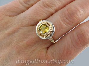 yellow gemstone ring two tone 14kt gold ring