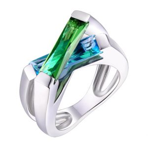 Helenite green and blue gemstone ring sterling silver
