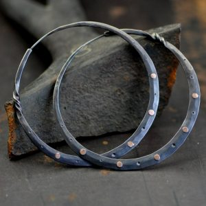 silver hoop earrings with rose gold