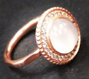 rose gold ring with moonstone and diamonds